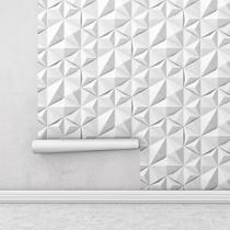 Papel De Parede Com Película Protetora Auto Adesivo Geométrico Triângulos Para Sala + Kit Aplicação - Papel E Parede