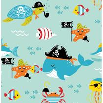 Papel de Parede Contact Decorado 45cm x 10m Piratas Do Mar Plastcover - De Casa Magazine