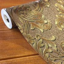 Papel de Parede Damask Marrom Dourado 3d Vinílico Texturizad - Global