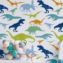 Papel de Parede Dinossauro Rex Jurassic Tiranossauro Infantil Menino Quarto Verde Azul Colorido 10 m - Toque Pop