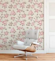 Papel de parede em tons bege, cinza e rosa - Papel E Parede Adesivos