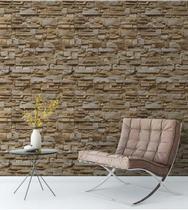Papel de parede estilo pedra canjiquinha em tons de marrom, creme e bege - Papel E Parede Adesivos