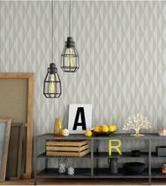 Papel de parede geométrico em tons cinza e bege - Papel E Parede Adesivos