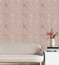 Papel De parede Geométrico Gold Carmim Para Quarto E Sala + Kit Aplicação Completo - Papel E Parede