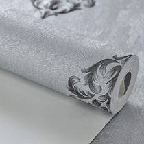 Papel de parede importado vinílico cinza arabesco preto - Maya Wallpaper