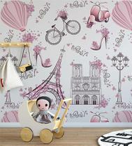 Papel De Parede Infantil Paris Fundo Rosa claro Lambretas E Flores + Kit Aplicação Completo - Papel E Parede