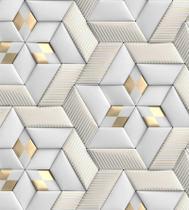 Papel De Parede Lavável Autocolante Fosco 3D Formas Com Kit Aplicação Em Tons De Amarelo E Branco -