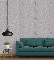 Papel De parede Para Quarto E Sala Geométrico Gold Grey + Kit Aplicação Completo - Papel E Parede