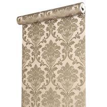 Papel de parede vinílico importado textura arabesco - marrom - Prime