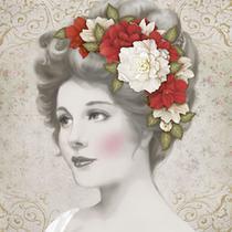 Papel Decoupage Adesiva Litoarte DAXV-074 15x15cm Dama com Flores Brancas e Vermelhas -
