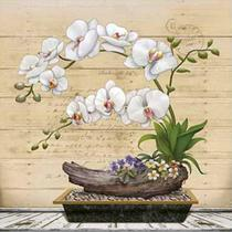 Papel Decoupage Arte Francesa Litoarte AFQ-398 21x21cm Orquídea Branca -