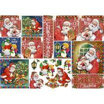 Papel Decoupage Natal Litoarte PDN-127 34,3x49cm Papai Noel Vintage e Pinguins -