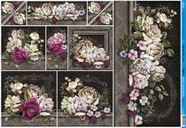Papel Decoupage PD-891 Flores Decoradas 34,3x49 - Litoarte -