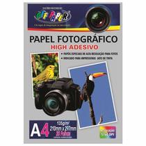 Papel Fotográfico A4 Adesivo 135g Off Paper 20 Folhas -