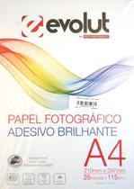 Papel Fotográfico A4 Adesivo Brilhante 115g - 20 folhas - Evolut