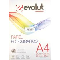 Papel Fotográfico A4 Brilhante 230g - 20 folhas - Evolut