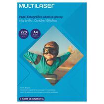 Papel Fotográfico Adesivo Brilhante Glossy 10 folhas - Multilaser -