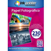 Papel Fotográfico Brilhante Glossy A4 230gr - Inkprinter