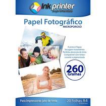 Papel Fotográfico Brilhante Glossy Microporoso para Tinta Pigmentada A4 260gr - Inkprinter