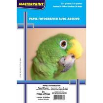 Papel Fotográfico Inkjet A4 Glossy Adesivo 115g. Masterprint - Pacote C/ 20 Folhas - Totalembalagens