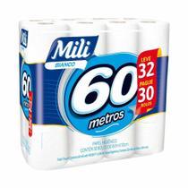Papel higienico bianco folha simples com 60m leve 32 pague 30 / c/32rl / mili -
