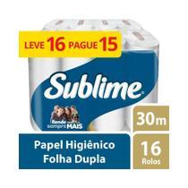 Papel Higienico Folha Dupla Sublime Softys L16P15 Rolos De 30M Softys -