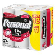 Papel Higiênico Personal Folha Dupla Neutro Vip 30m 6 Embalagem c/ 12 Unidades -