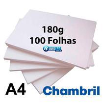 Papel Offset Chambril 180G A4 Branco - 100 Folhas -