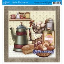 Papel para Arte Francesa Litoarte 21 x 21 cm - Modelo AFQ-283 Cozinha -