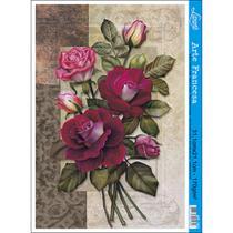 Papel para Arte Francesa Litoarte 21 x 31 cm - Modelo AF-165 Rosas -