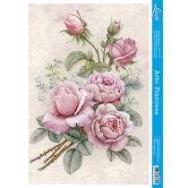 Papel para Arte Francesa Litoarte 21 x 31 cm - Modelo AF-317 Rosas -