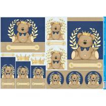 Papel para Decoupage Litoarte 49 x 34,3 cm - Modelo PD-236 Urso Coroa -