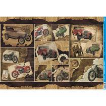Papel para Decoupage Litoarte 49 x 34,3 cm - Modelo PD-579 Carros e Motos -