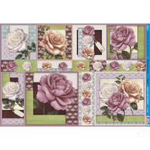 Papel para Decoupage Litoarte 49 x 34,3 cm - Modelo PD-629 Rosas -