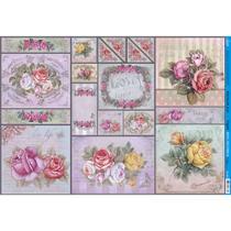 Papel para Decoupage Litoarte 49 x 34,3 cm - Modelo PD-880 Rosas Coloridas Vintage -