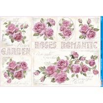 Papel para Decoupage Litoarte 49 x 34,3 cm - Modelo PD-896 Rosas Shabby Chic -