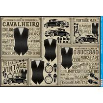 Papel para Decoupage Litoarte 49 x 34,3 cm - Modelo PD-978 Colete, Carro, Relógio -