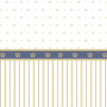 Papel Parede Faixa Azul e Listrado Dourado Adesivo Infantil - LRP