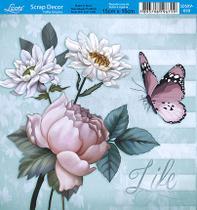 Papel Scrap Decor Folha Simples 15x15 Flores Live SDSXV-050 - Litoarte -