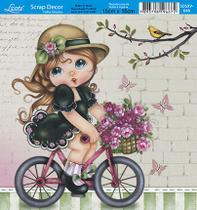 Papel Scrap Decor Folha Simples 15x15 Menina na Bicicleta SDSXV-046 - Litoarte -