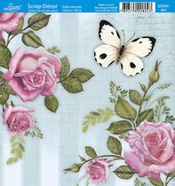 Papel Scrap Decor Folha Simples 15x15 Rosas e Borboleta SDSXV-067 - Litoarte -