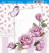 Papel Scrap Decor Folha Simples 15x15 Rosas SDSXV-062 - Litoarte -