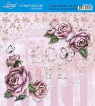 Papel Scrap Decor Folha Simples 20x20 Love Rosas SDSXX-035 - Litoarte -