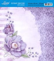 Papel Scrap Decor Folha Simples 20x20 Rosa Roxa SDSXX-017 - Litoarte -