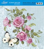 Papel Scrap Decor Folha Simples 20x20 Rosas e Borboleta SDSXX-023 - Litoarte -