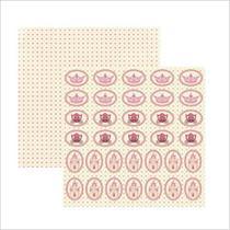 Papel Scrapbook Dupla Face - Colecoes - Princesa Encantada Medalhoes - SDF468 - 15593 - To - Toke E Crie