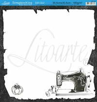 Papel Scrapbook Litoarte 30,5x30,5 SD-037 Costura Preto e Branco -