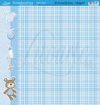 Papel Scrapbook Litoarte 30,5x30,5 SD-049 Xadrez Bebê Menino Azul -