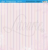 Papel Scrapbook Litoarte 30,5x30,5 SD-054 Listras e Flores Rosa -