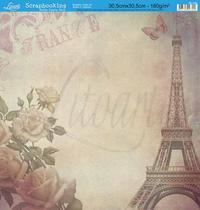 Papel Scrapbook Litoarte 30,5x30,5 SD-060 Torre e Rosas France -